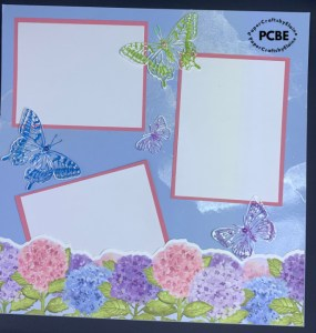 cutting up Stampin' Up stamps, scrapbook layouts, scrapbook page ideas, scrapbook butterfly page ideas,