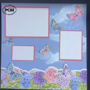 Butterfly Brilliance stamps set, cutting up Butterfly stamp, cutting up Stampin' Up stamps,  creating a scrapbook page, how to make clouds,