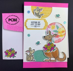 using dies and punches, crafting with dies and punches, how to punch random circles, peek a boo cards, kangaroo cards, kangaroo and Joey, baby kangaroo, greeting cards, handmade greeting cards, cards for kids, cards for easter, Easter cards for children,