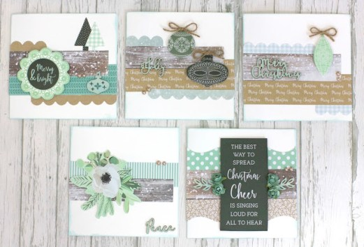 Quick and Easy Set of 10 Mint Wishes Christmas Cards with Instructions