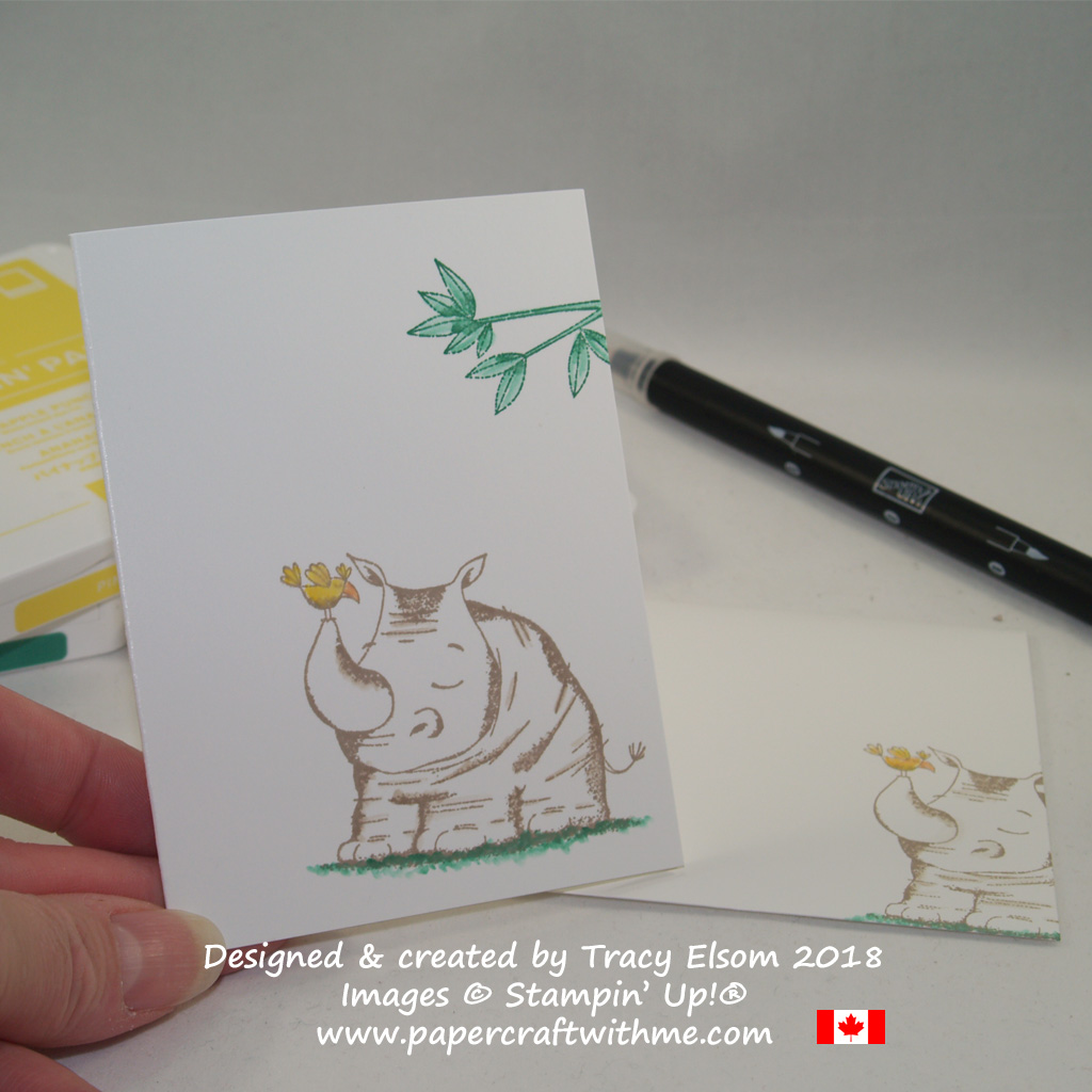 Simple notecard featuring a rhino from the Animal Outing Stamp Set from Stampin' Up!