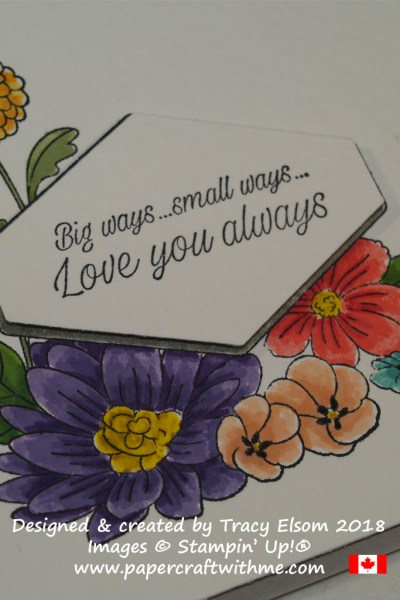 Stampin' Write Markers were used to colour the large floral image from the Accented Blooms Stamp Set from Stampin' Up!