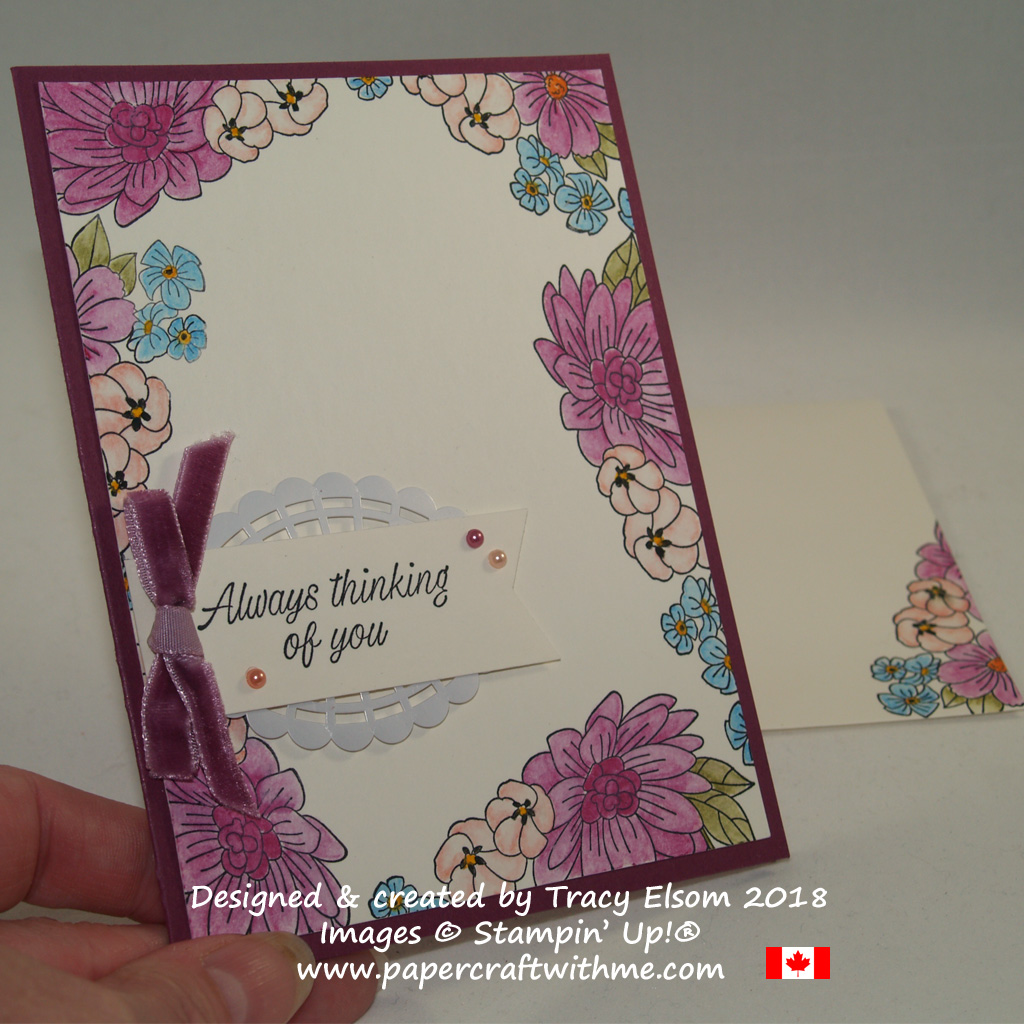 Thinking of you card with a floral border created using the Accented Blooms Stamp Set from Stampin' Up!