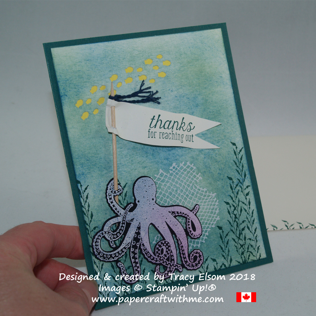Fun thank you card featuring an octopus and other images from the Sea of Textures Stamp Set and coordinating Under the Sea Framelits Dies from Stampin' Up!