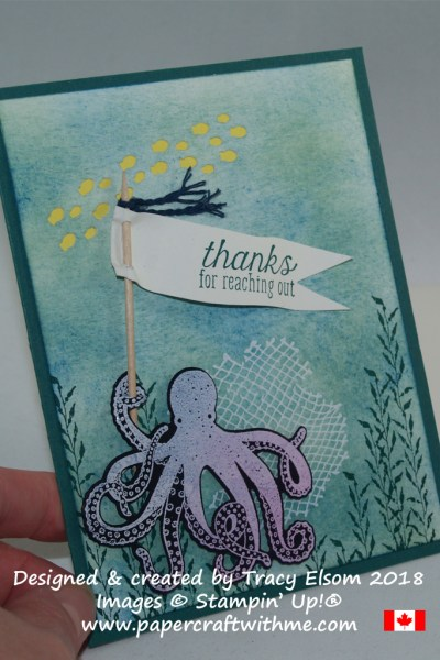 Fun thank you card featuring an octopus and other images from the Sea of Textures Stamp Set from Stampin' Up!