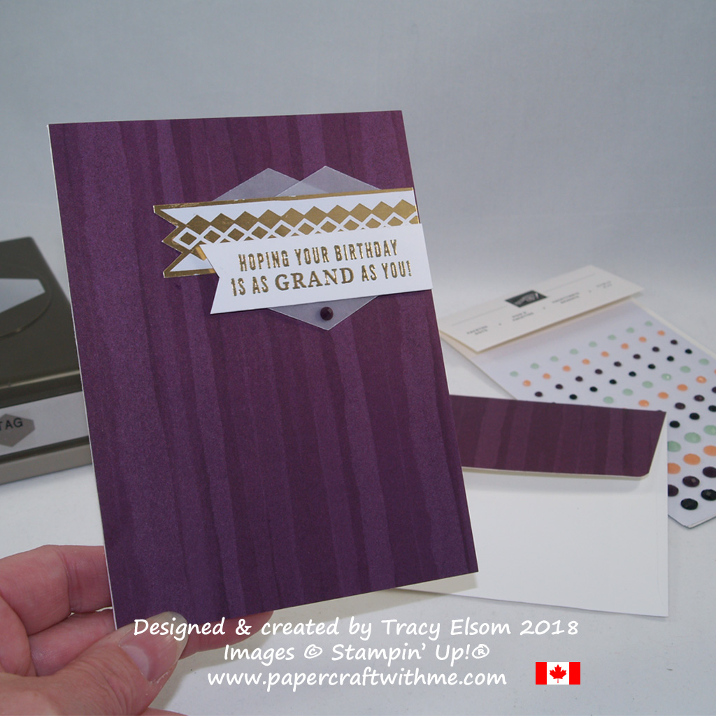 Gold and purple birthday card created using the Truly Tailored Stamp Set from Stampin' Up!