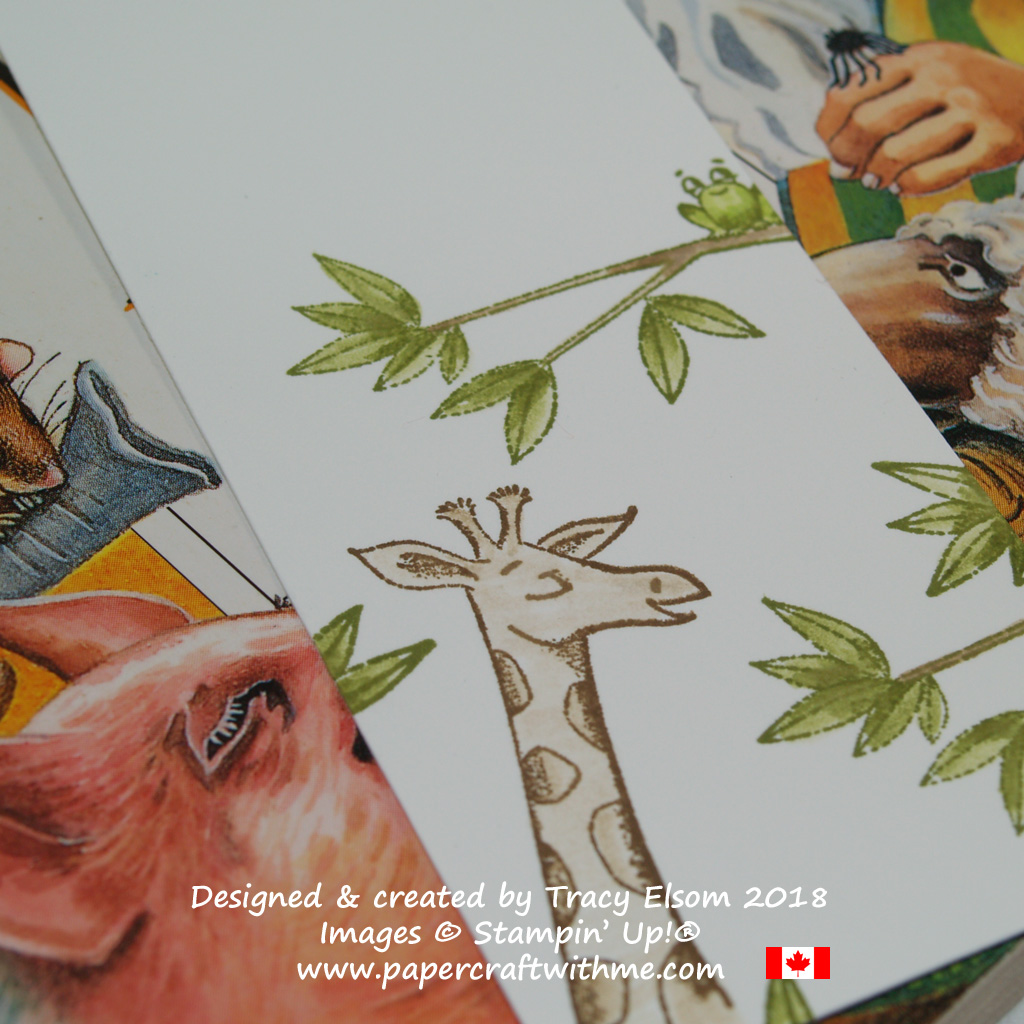 Close up of the giraffe and frog in the Animal Outing Stamp Set from Stampin' Up!