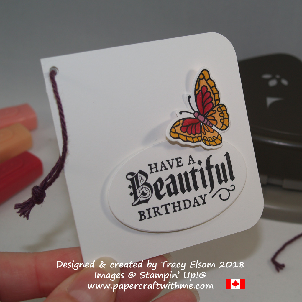 Birthday gift tag with a butterfly image and gothic font sentiment from the Painted Glass Stamp Set from Stampin' Up!