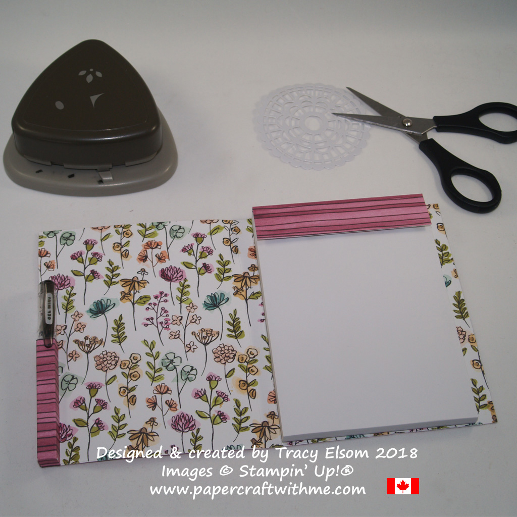 Inside of covered notebook created using Share What You Love Specialty Designer Series Paper from Stampin' Up!