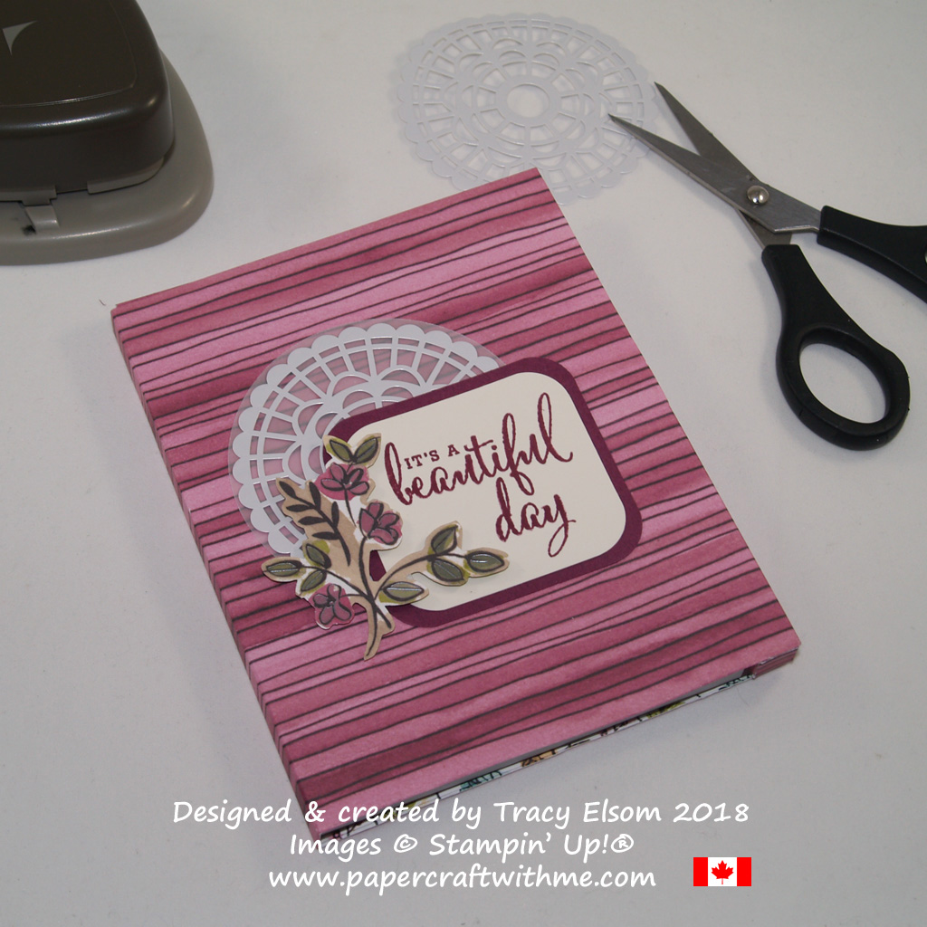 Covered notebook created using the Love What you Do Stamp Set and Share What You Love Specialty Designer Series Paper from Stampin' Up!