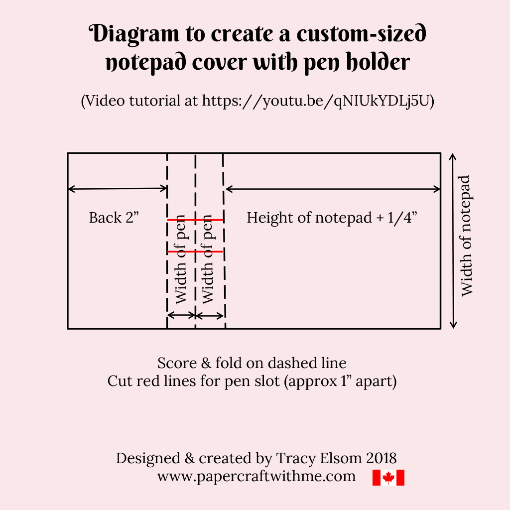 Diagram to create a custom-sized notepad cover with pen holder.