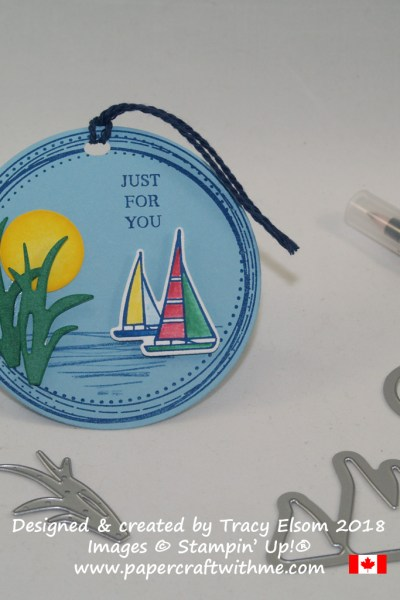 Sailboat circular gift tag created using the Lilypad Lake and Swirly Frames Stamp Sets from Stampin' Up!