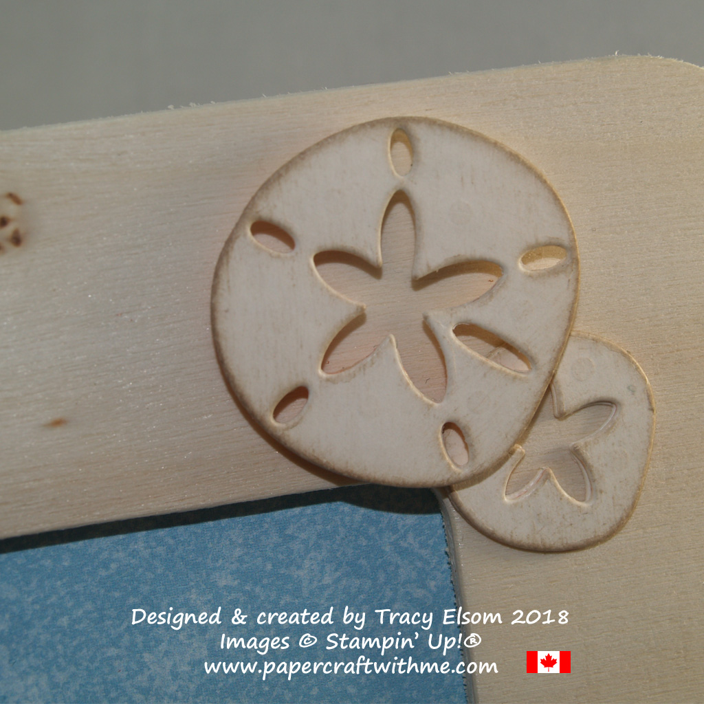 Sand dollar faux wood embellishment created using the Under the Sea Framelits Dies from Stampin' Up!