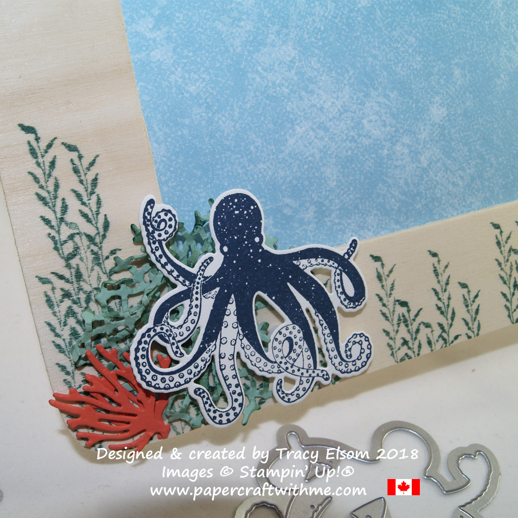 Octopus, net and coral embellishment created using the Sea of Textures Stamp Set and Under the Sea Framelits Dies from Stampin' Up!