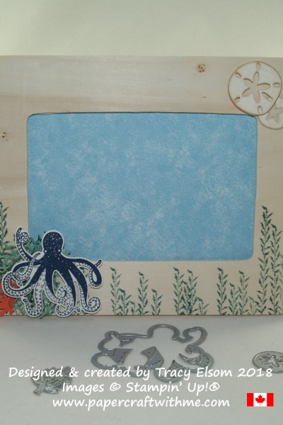 Raw wooden picture frame decorated using the Sea of Textures Stamp Set and coordinating Under the Sea Framelits Dies from Stampin' up!