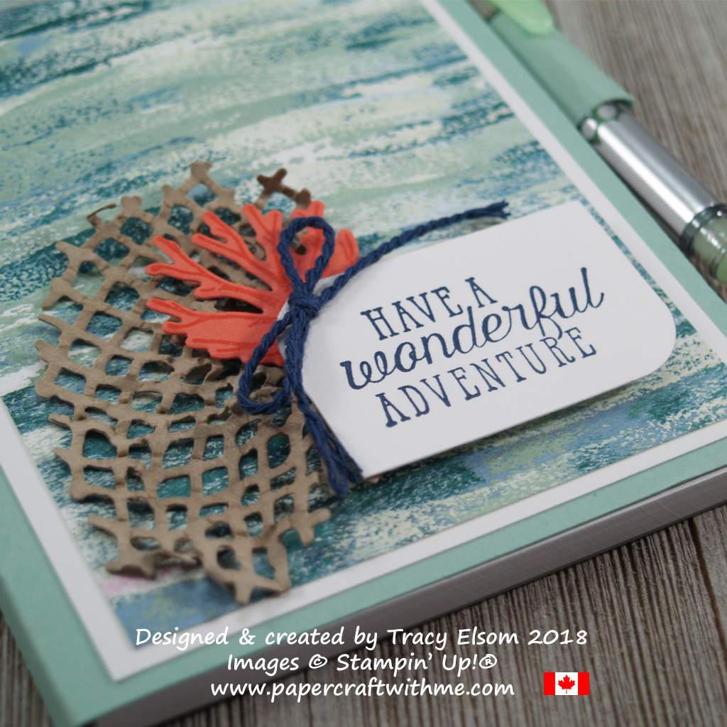 Close up of a simple notepad cover created using the Sea of Textures Stamp Set and Under the Sea Framelits Dies from Stampin' Up!