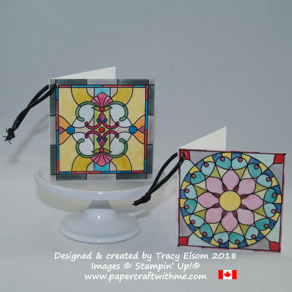 "3"" x 3"" gift tags created using Graceful Glass Designer Vellum from Stampin' Up!"