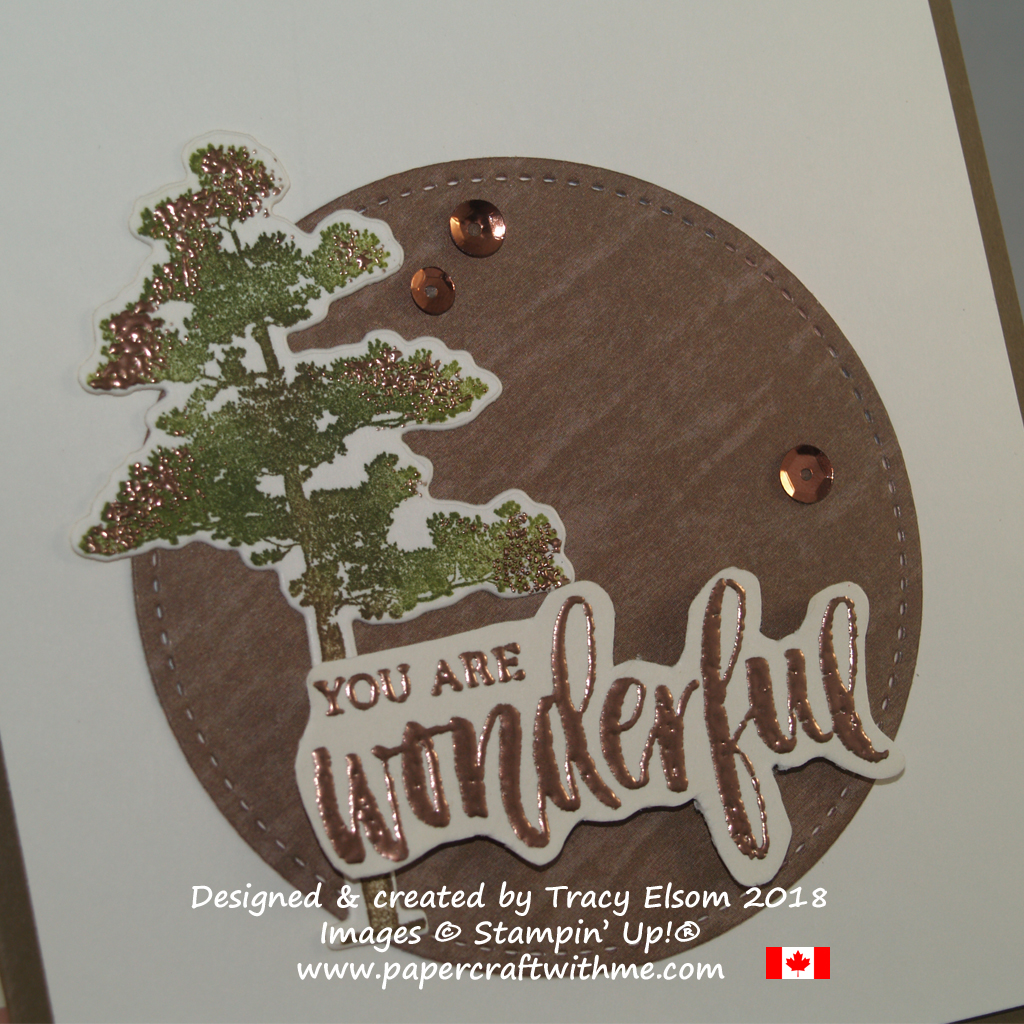 Close up of 'You are Wonderful' card created using the Rooted in Natures Stamp Set from Stampin' Up! with copper embossing.