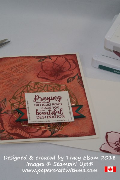 Praying for you collage-style card created by Tracy Elsom using the Beautiful Promenade Stamp Set and coordinating Beautiful Layers Thinlits Dies from Stampin' Up!