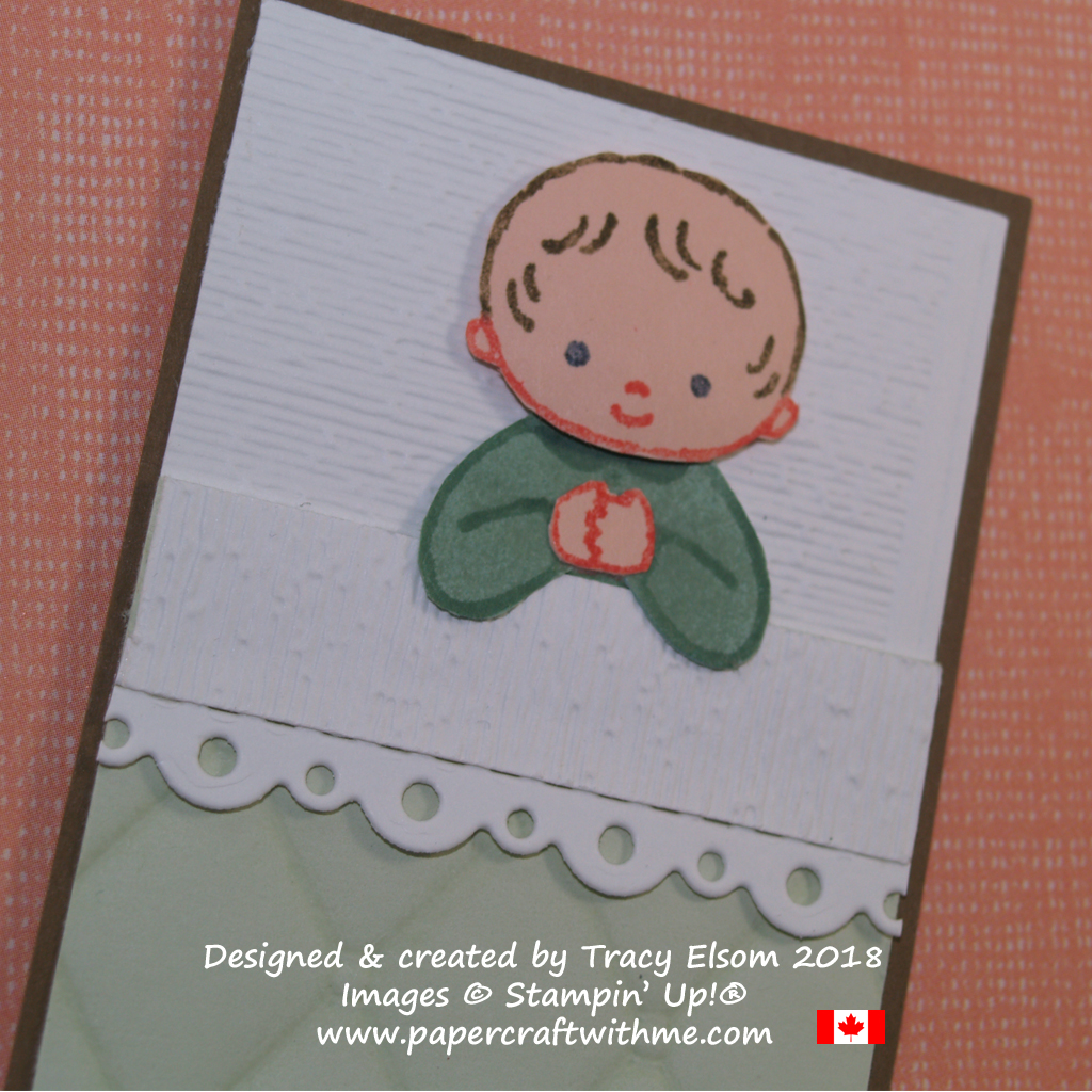 Close up of baby card created by Tracy Elsom using the Sweet Baby Stamp Set from Stampin' Up!