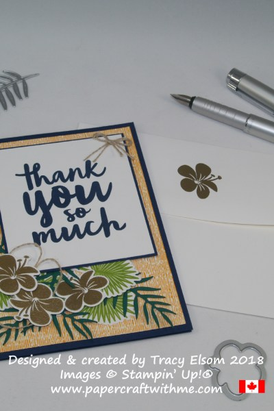 Thank you card created by Tracy Elsom using the Thankful Thoughts and Tropical Chic Stamp Sets from Stampin' Up!