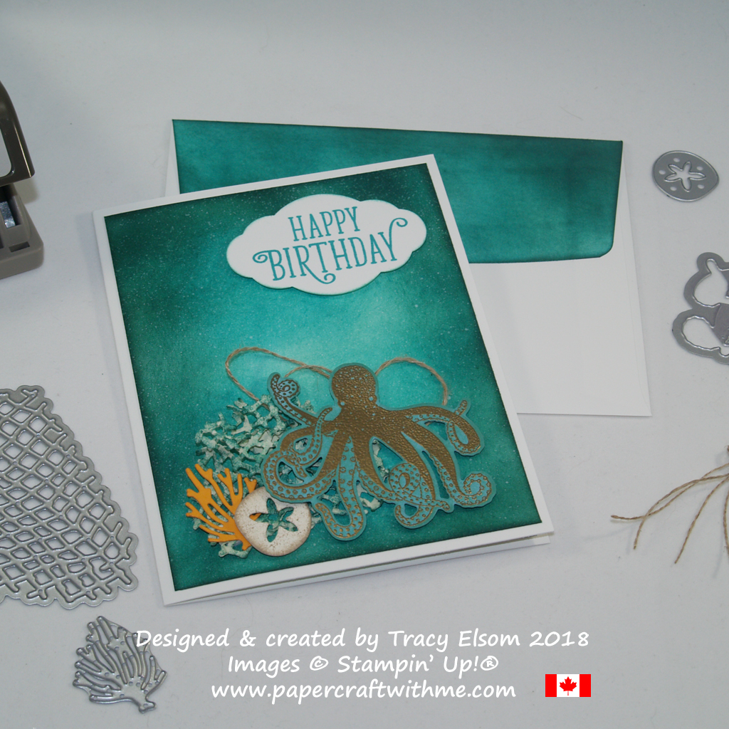 Masculine birthday card created by Tracy Elsom using the Sea of Textures Stamp Set and coordinating Under the Sea Thinlits Dies from Stampin' Up!