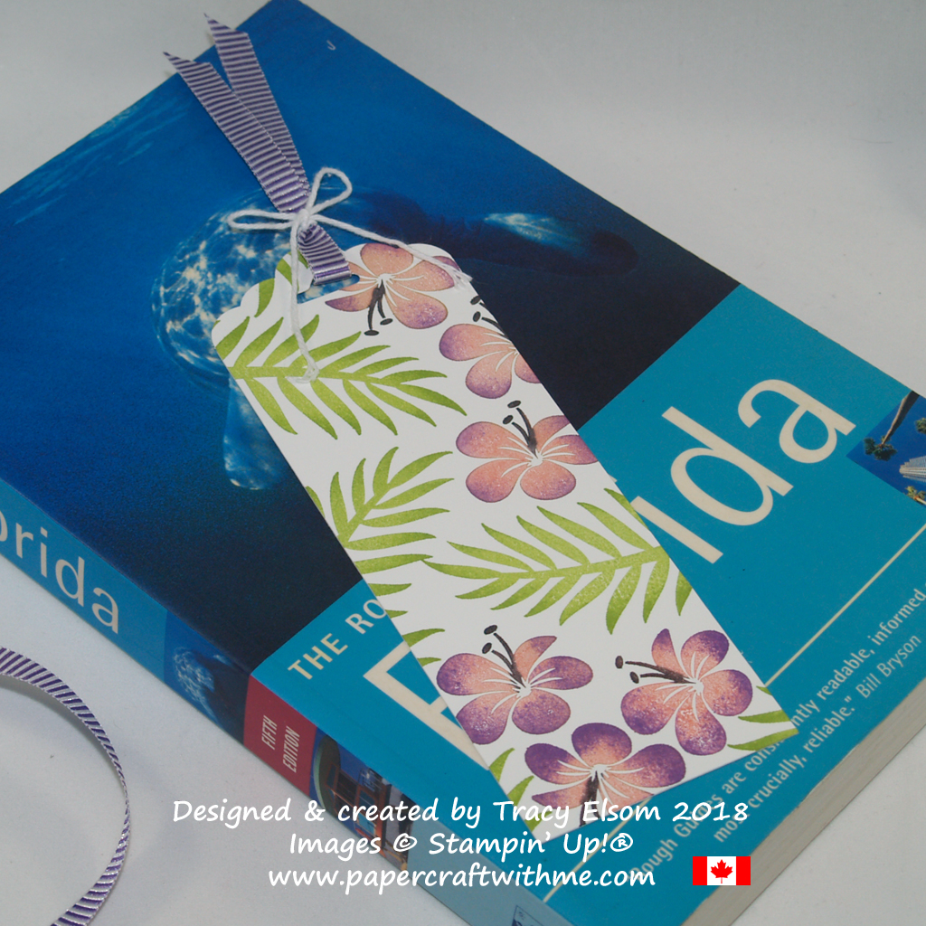 Floral bookmark created by Tracy Elsom using the Tropical Chic Stamp Set from Stampin' Up!
