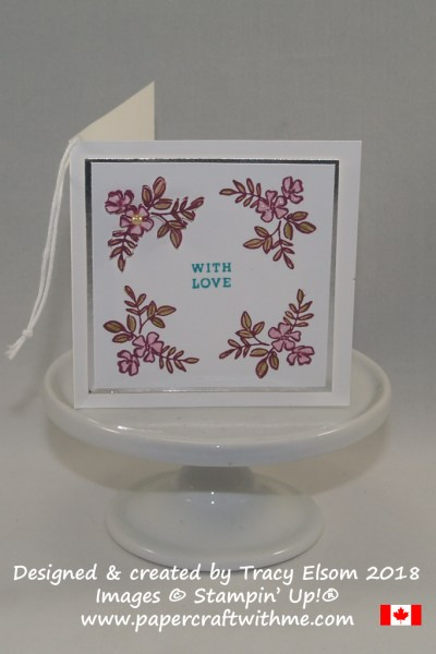 "3"" x 3"" With Love gift tag created using the Make a Difference Stamp Set from Stampin' Up!"
