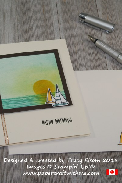 Masculine birthday card with faux canvas panel created using the Lilipad Lake Stamp Set and coordinating Lakeside Framelits Dies from Stampin' Up!