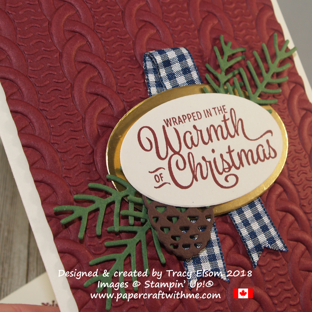 Close up of Christmas card featuring a heavily embossed Cable Knit background, pretty pines die-cut pieces and a sentiment from the Snowflake Sentiments Stamp Set from Stampin' Up!