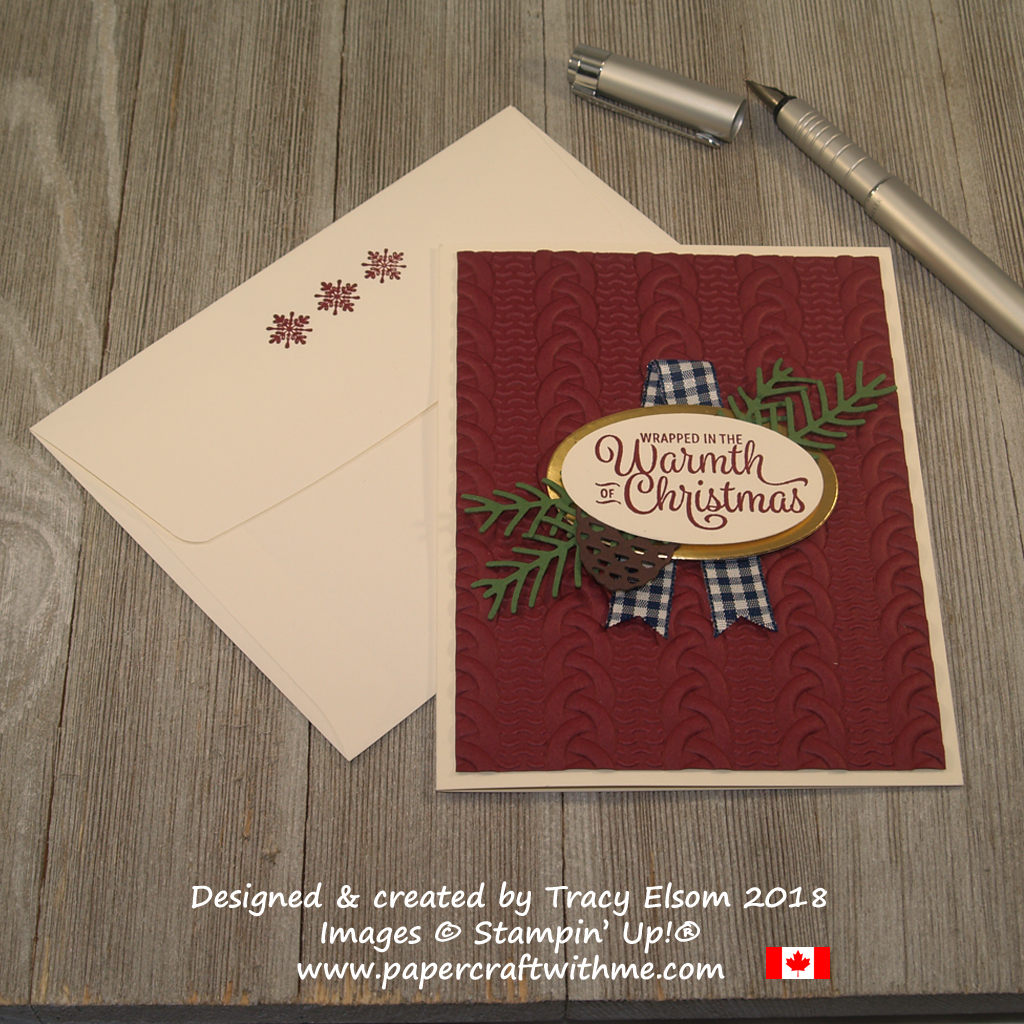 Christmas card featuring a heavily embossed Cable Knit background, pretty pines die-cut pieces and a sentiment from the Snowflake Sentiments Stamp Set from Stampin' Up!