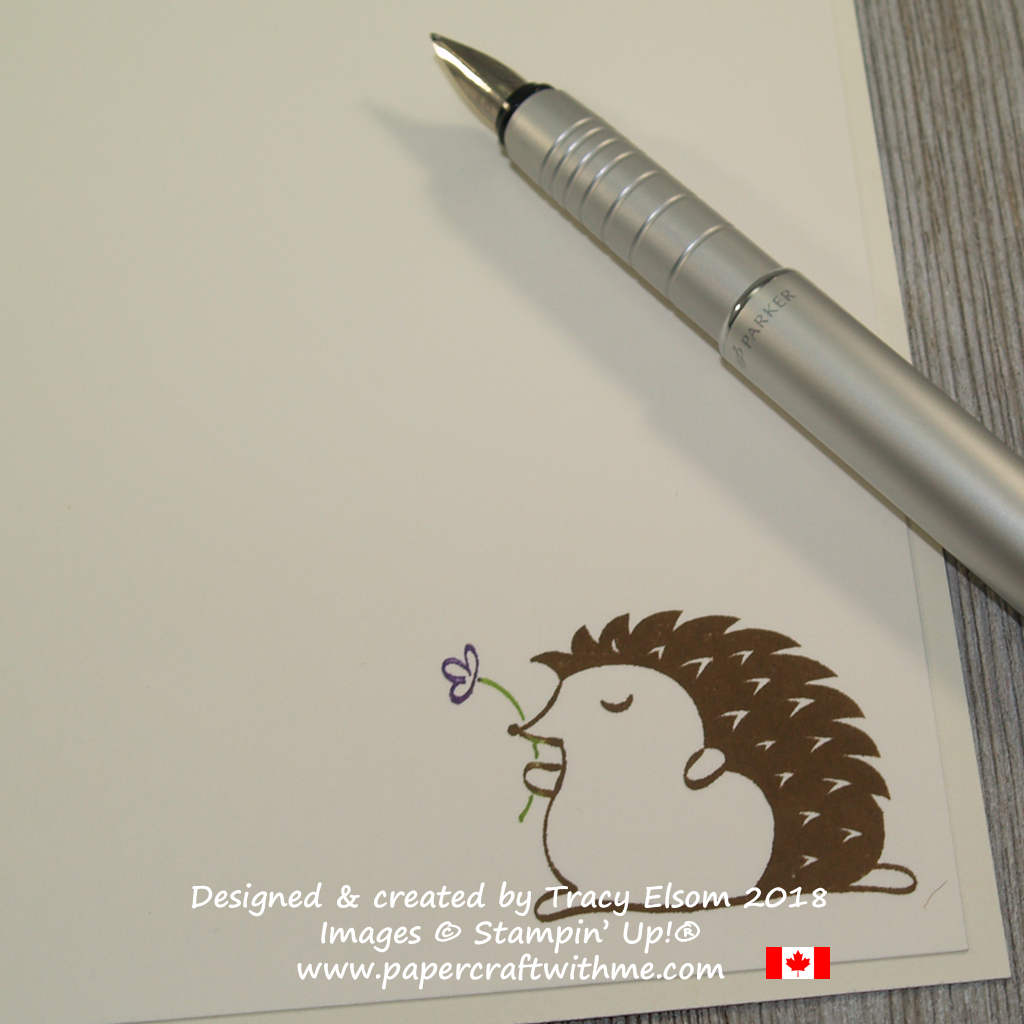 Inside of card decorated with hedgehog image from the Hedgehugs Stamp Set from Stampin' Up!