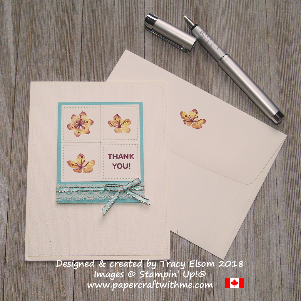 Thank you card with three single flowers created using the Colorful Seasons Stamp Set from Stampin' Up!