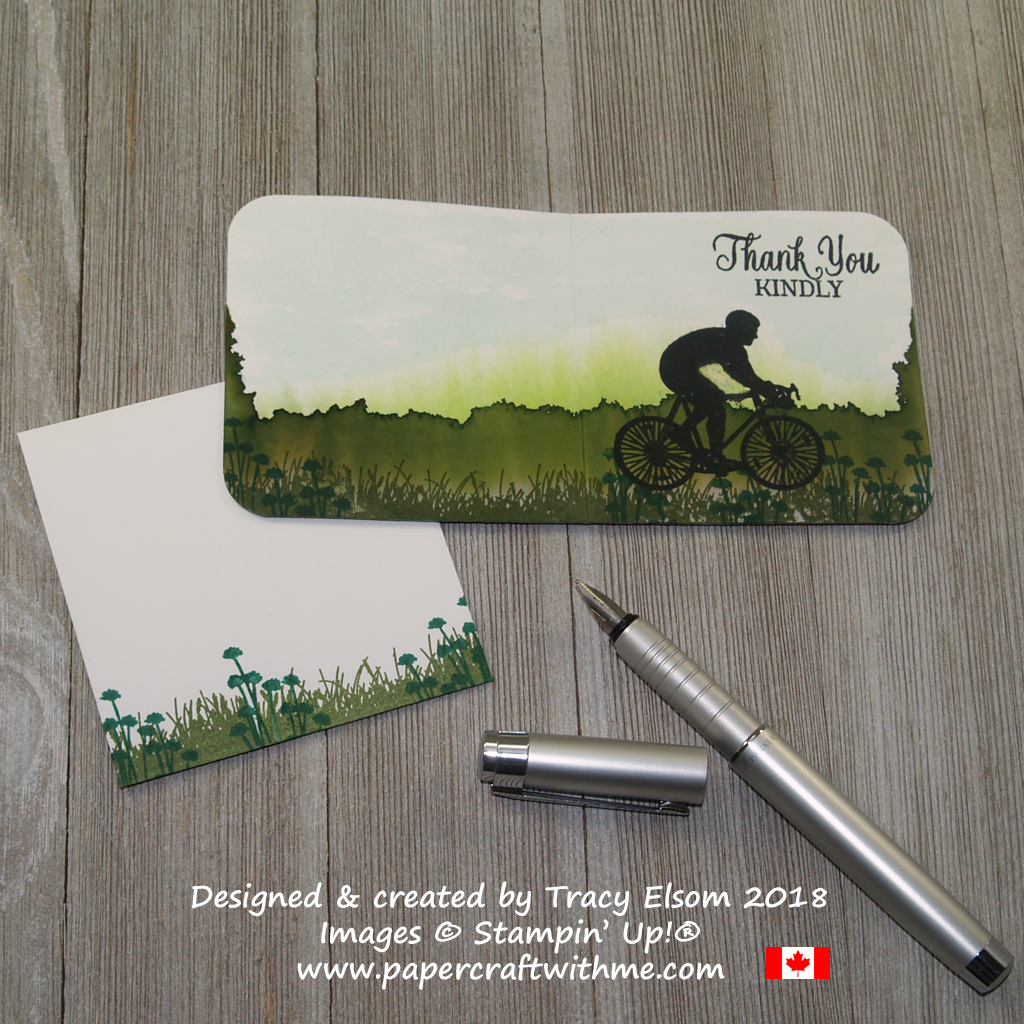 Thank you mini card with wraparound scene created using drawn water and the Enjoy Life Stamp Set from Stampin' Up!