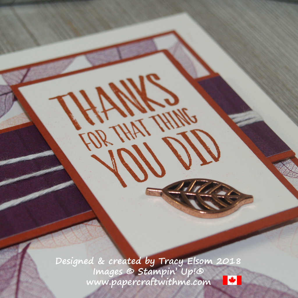 Close up of thank you card created using the All Things Thanks Stamp Set and Nature's Poem Designer Series Paper from Stampin' Up!