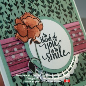 Close up of card created using the Eastern Beauty Stamp Set and Share What You Love Designer Series Paper from Stampin' Up!