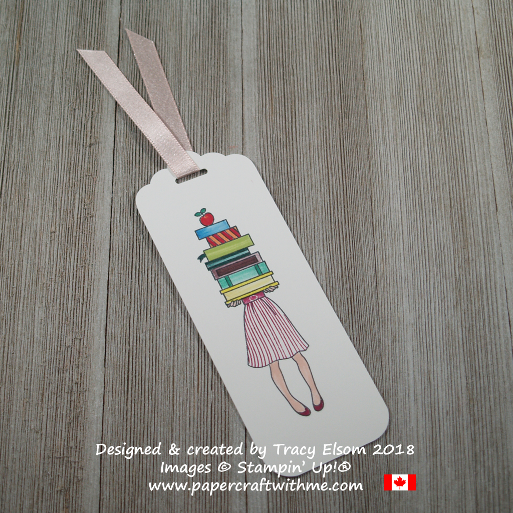 Bookmark featuring a girl holding a stack of books created using the Hand Delivered Stamp Set and all 10 In Color Stampin Write Markers colours from Stampin' Up!