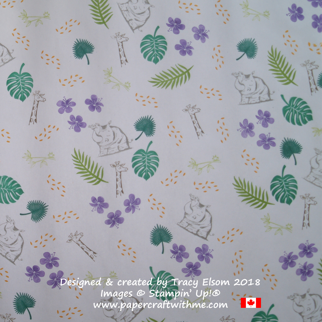 Gift wrap created using the Animal Outing and Tropical Chic Stamp Sets from Stampin' Up!