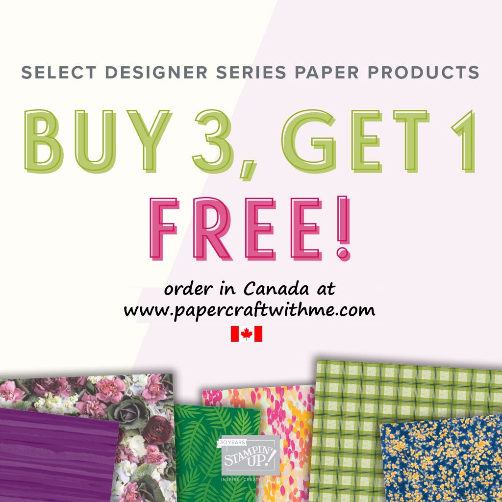 Buy 3 Get 1 offer on selected Designer Series Paper packs from Stampin' Up!
