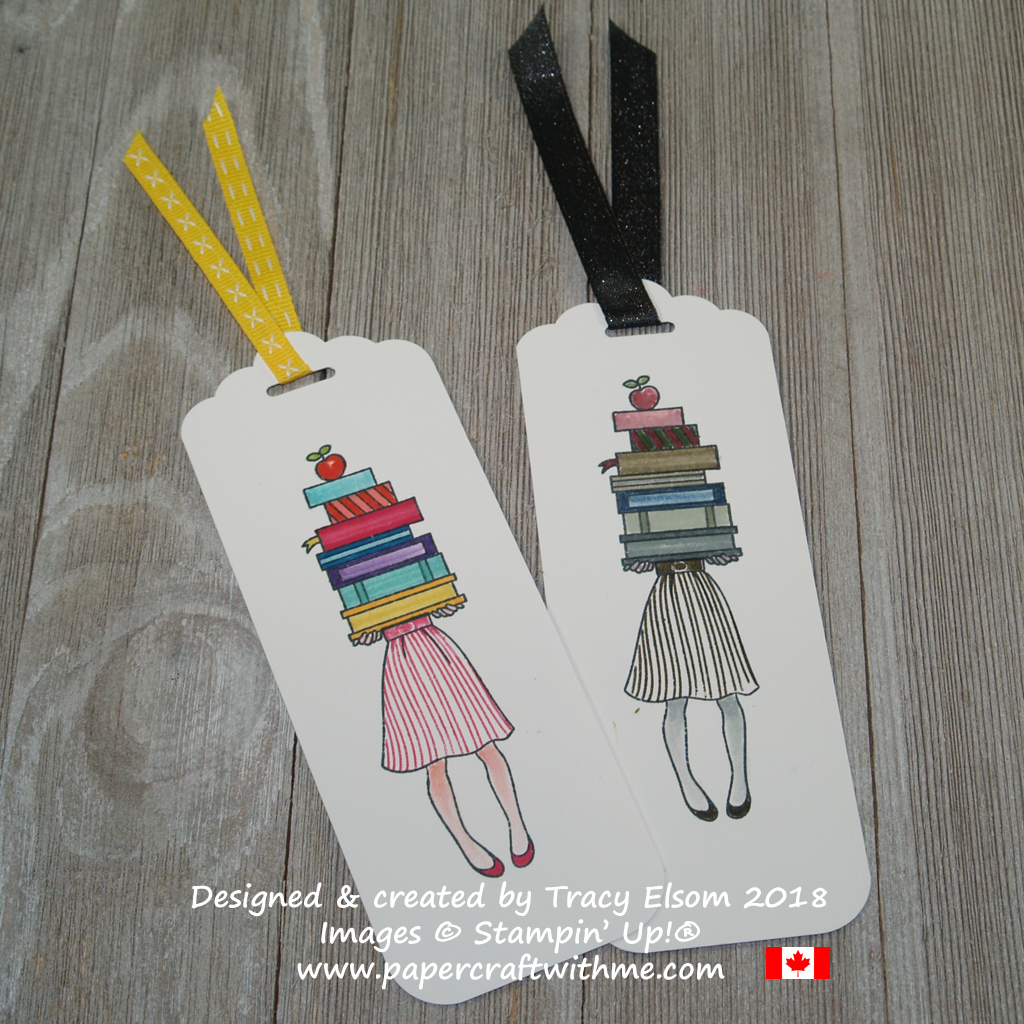 Bookmarks featuring a girl holding a stack of books created using the Hand Delivered Stamp Set and all 10 Brights Stampin Write Markers (left) and all 10 Neutrals (right) from Stampin' Up!