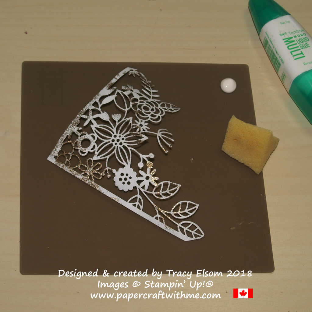 Using a sponge to add liquid glue to a piece from the Delightfully Detailed Laser-Cut Specialty Paper from Stampin' Up!