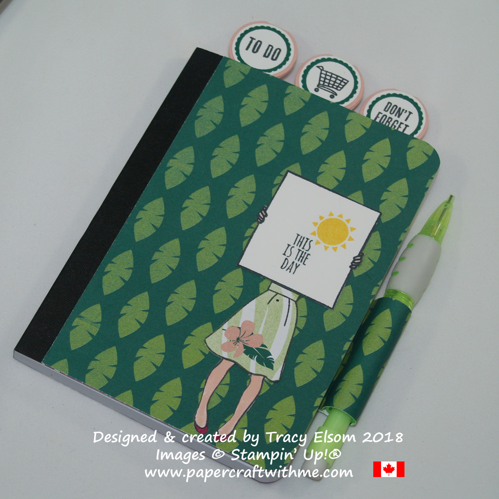 Mini notebook decorated using images from the Tabs for Everything and Hand Delivered Stamp Sets from Stampin' Up!