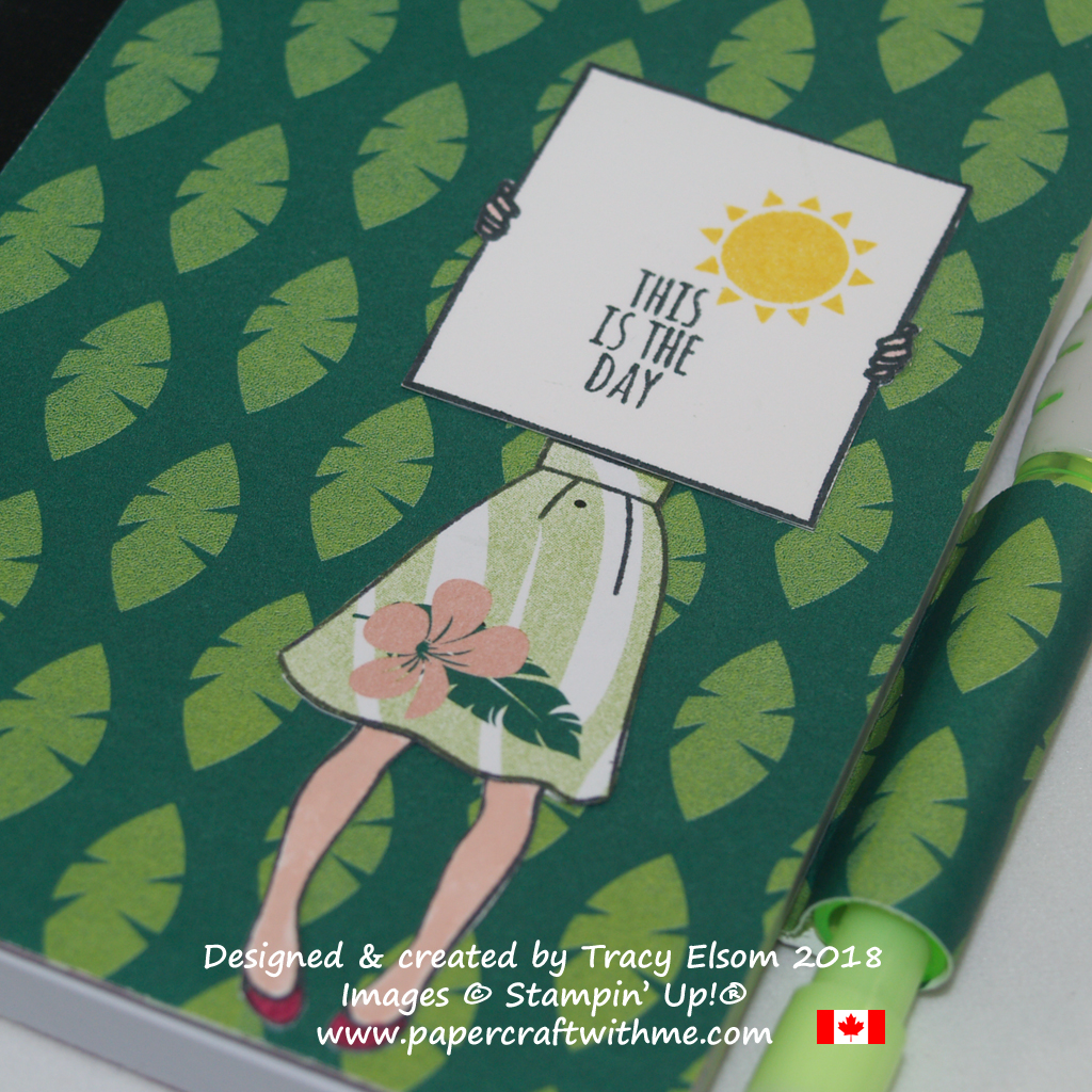 Close up of mini notebook decorated using images from the Tabs for Everything and Hand Delivered Stamp Sets from Stampin' Up!