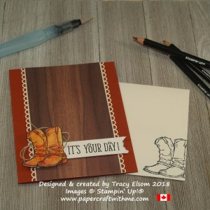 Masculine birthday card featuring watercoloured cowboy boots from the Country Livin' Stamp Set from Stampin' Up!