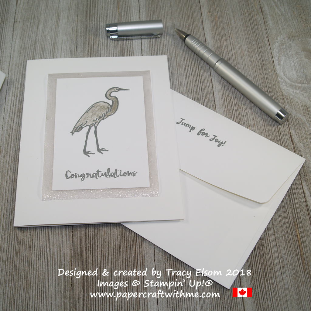 Silver embossed stork from the Lilypad Lake Stamp Set on a baby congratulations card with shimmer from Clear Wink of Stella Glitter Brush.