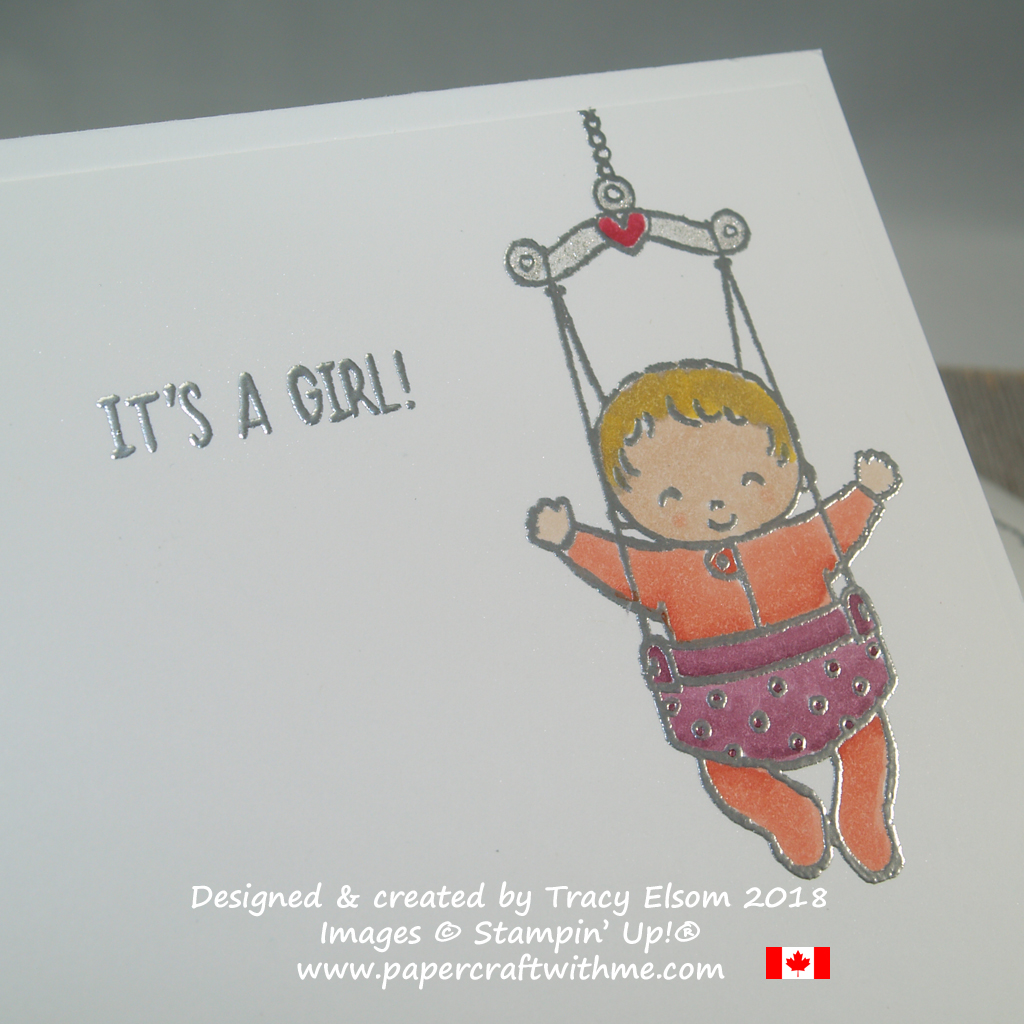 Inside of card featuring 'It's a girl' sentiment and bouncing baby image from the Sweet Baby Stamp Set from Stampin' Up!