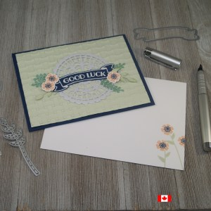 Good luck banner card created using the Banners for You and Beautiful Bouquet Stamp Sets from Stampin' Up!