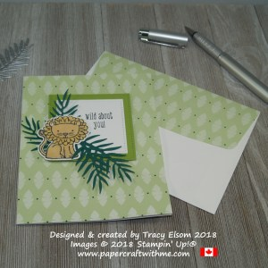 Simple card with a cute lion, tropical foliage and a wild about you sentiment using products from Stampin' Up!