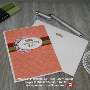 Thinking of you card with embossed embossing created using the Garden Trellis Embossing Folder and Accented Blooms Stamp Set from Stampin' Up!