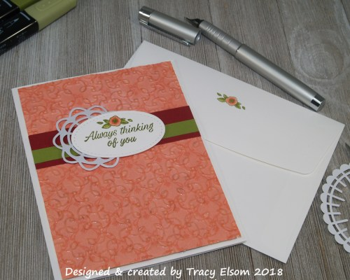1544 Embossed embossing thinking of you card